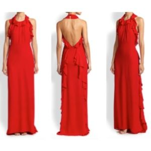 Milly Red Silk Halter Top Gown with Ruffle Detail